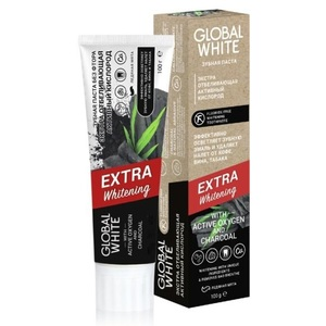 GLOBAL WHITE Паста зубная экстра отбеливающая / Extra whitening Active oxygen and charcoal 100 г